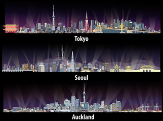 Fototapete - abstract illustrations of Tokyo, Seoul, Sydney and Auckland skylines at night