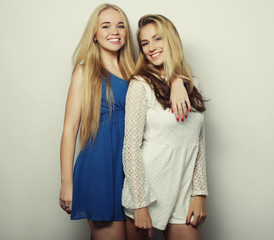 two sexy young women in summer fashion dress
