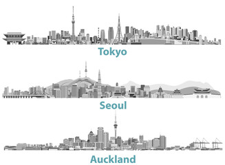 abstract illustrations of Tokyo, Seoul, Sydney and Auckland skylines in black and white