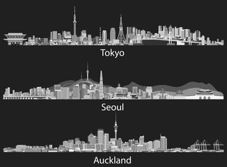 abstract illustrations of Tokyo, Seoul, Sydney and Auckland skylines in grey scales
