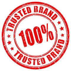 100 percent trusted brand rubber stamp