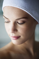 Close-up of beautiful woman in spa