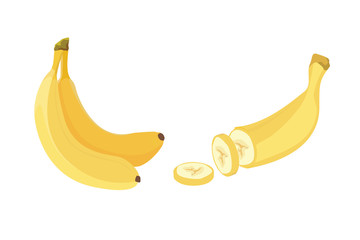 Fresh banana fruits, collection of vector illustrations. Peeled and sliced bananas