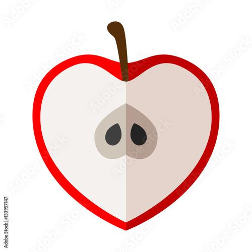 Icono plano media manzana forma corazon color en fondo blanco\