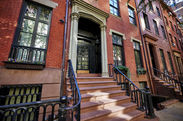 an old brick brownstone building