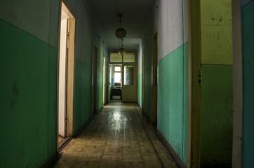 abandoned hostel hallway