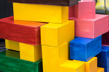 Colorful painted styrofoam blocks