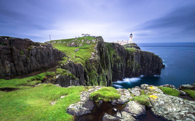 Coast in Scotland. Lighthaouse at Neist Point - Isle of Skye