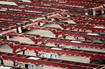 High angle view of trailers at factory