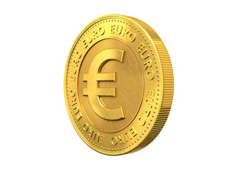 Gold coin with euro sign.3d rendering.