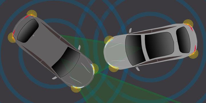 adi30 AutonomousDrivingIllustration - german: Kein Verkehrsunfall / mit automatischen Bremsassistenten - english: no car accident / with automatic emergency brake assist - 2to1 g4944