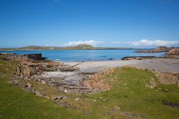 Fionnphort beach port Isle of Mull Scotland UK view to Iona island