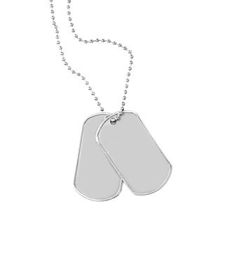Military ID tags, isolated on white
