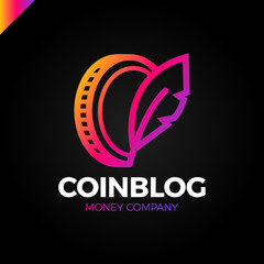 Coin symbol with feather sing. Money blog writer logo