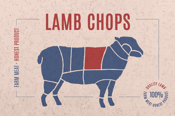 Label for lamb meat with text Lamb Chops. Creative graphic design for butcher shop, farmer market. Advertising poster for meat related theme. Vector Illustration