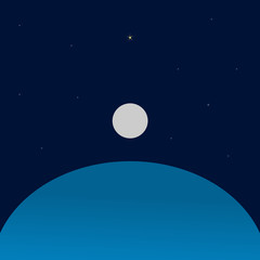 The blue space from a planet with a satellite and a star in the dark background