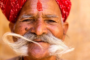 Indian senior with a mustache, Rajasthan