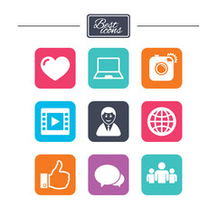 Social media icons. Video, share and chat signs.