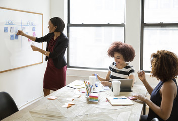 Businesswoman sticking adhesive notes on whiteboard during meeting with female colleagues
