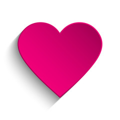 Pink heart on white background