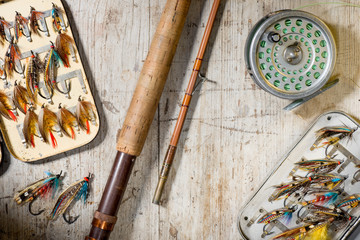 Old fashioned fly fishing equipment