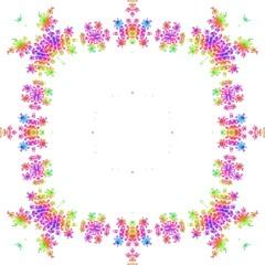 Ornate colorful floral graphic frame square framed background tile