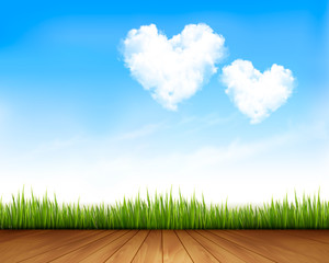 Blue sky with hearts shape clouds and wooden plank. Vector illus