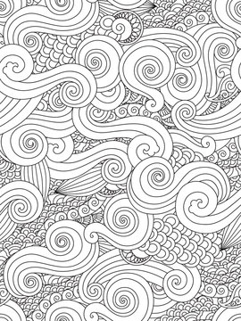 Abstract hand drawn outline wave curl seamless pattern in east asian style isolated on white background.
