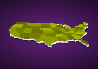 3D USA State map