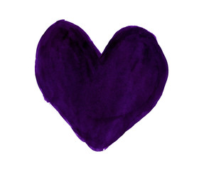 Dark violet heart painted with gouache