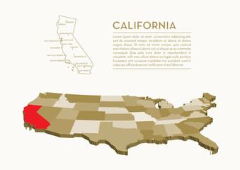 3D USA State map - CALIFORNIA