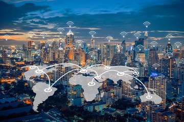 world map connection with cityscape and wifi icon,network and te