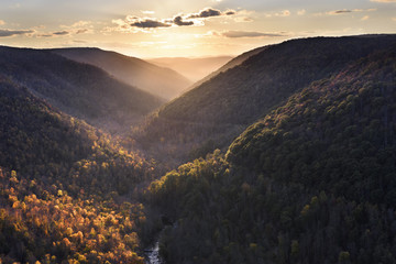 Wall Mural - Sun Lighting Mountains in Fall Colors