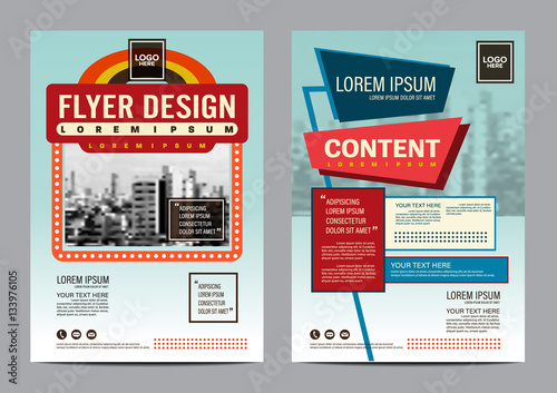 Modern Retro Brochure Layout Design Template. Annual Report Flyer