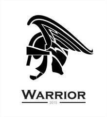 Warrior. warrior helmet,warrior head,warrior profile,side view of warrior head combine with text. prince. winged head helmet armor of a prince. artistic helmet of a centurion. artwork of a knight head