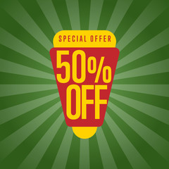 Price discount sale sticker isolated vector illustration. Special offer tag, 50% off price discount, super sale ad, advertisement retail label, exclusive shopping symbol. Modern style offer sign.