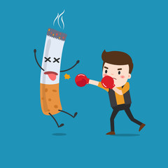 vector illustration of a cartoon fight against nicotine