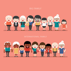 Family concept. Big happy Family and international family.