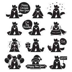 Rooster Emoticons Monochrome Icons Set, Traditional Celebration, Happy New Year, China, Emoji, Expression, Animal