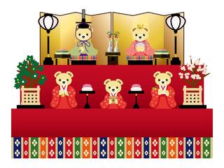 テディベアの雛人形 五人飾り
