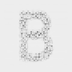 Rendering large letter B made up of white square uneven tiles