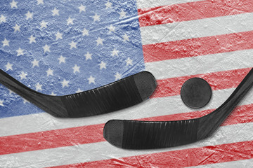 American flag and two hockey sticks hockey