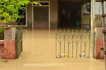House flooded by muddy water in the Philippines
