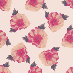 Bouquet of pink Peony flowers. Seamless pattern