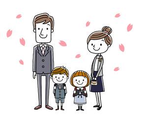 入学式イメージ:両親と男の子と女の子