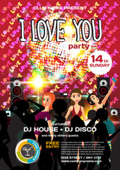 Vector valentine's day party invitation disco style. Night club,