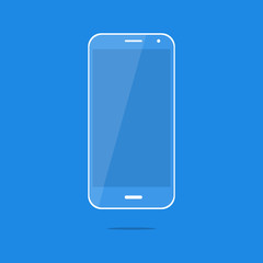 Blue smartphone icon with shadow. Flat style. Vector illustration