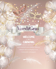 Falling feathers, beads, ribbon and carnival masks. Mardi Gras background. Vector illustration