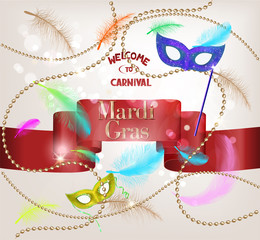 Falling feathers, red ribbon and gold beads. Mardi Gras. Carnival background. Vector illustration