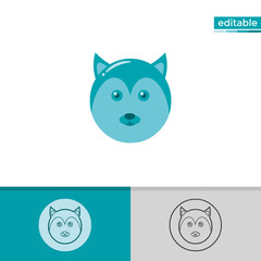 wolf icon. cute animal illustration with blue color. monochrome